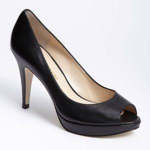 Enzo Anciolini 'Demario' Black Peep Toe Pump Heel